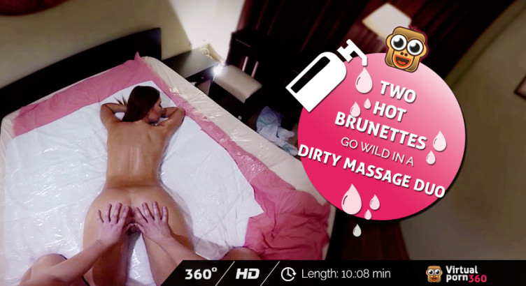 Two hot brunettes go wild in a dirty massage duo