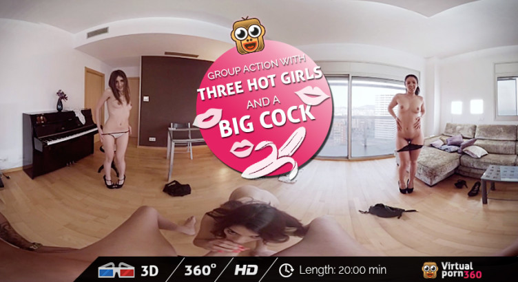 Group action with three hot girls and a big cock